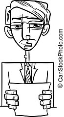 man giving speech cartoon illustration - Black and White...