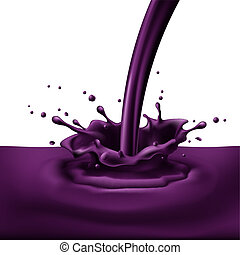Violet paint splashing - Pouring of violet paint with...