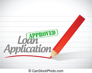 loan application approved sign message illustration design...