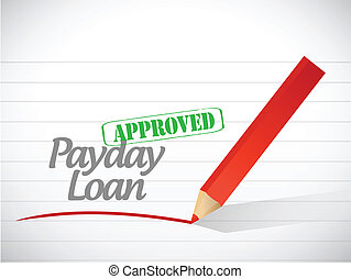 approved payday loan stamp illustration design over a white...