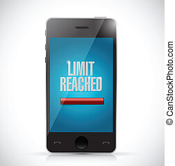 limit reached message on a phone illustration design over a...