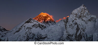 Everest Summit panoramic view Nutpse at sunset Large...