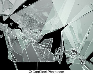 Pieces of demolished or Shattered glass isolated on black