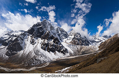 Pheriche Valley and Cholatse peak in Himalaya - Huge...