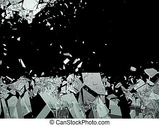 Pieces of Broken or Shattered glass isolated on black. Large...