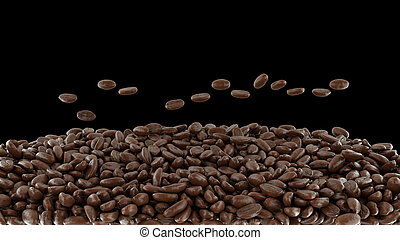 Mixed roasted coffee beans over black