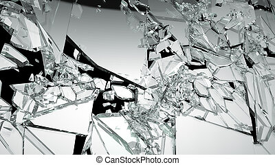 Demolished glass with sharp pieces on black