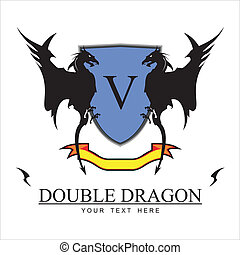 Twin Black Dragons and Blue shield - Twin Black Dragons,...