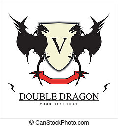 Twin Black Dragons - Dragons combine with Yellow shield, red...