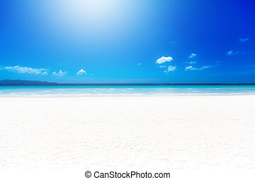 Tropical white sand beach on a Sunny day. Summer vacation.