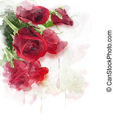 Red Roses Digital Painting - Red Roses Watercolor Digital...