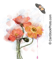 Watercolor Flowers - Watercolor Red Poppy Flowers...