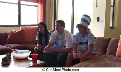 Group of happy Argentina soccer fan