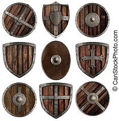 medieval wooden shields collection isolated on white