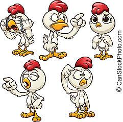 cartoon hen - Cartoon hen with different emotions. Vector...