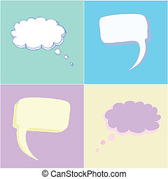 Pastel Thought Balloons - Thought balloons or bubbles in...