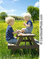 Children Having Fruit Picnic Outside - Two young children, a...