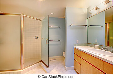 Bathroom with glass door shower