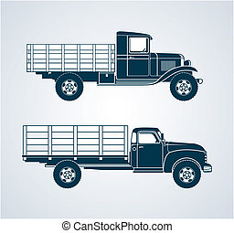 Vintage Fruit Trucks - Profile art of two retro...