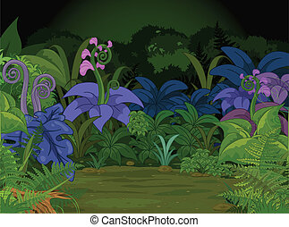 Jungle Landscape - Jungle landscape with many different...