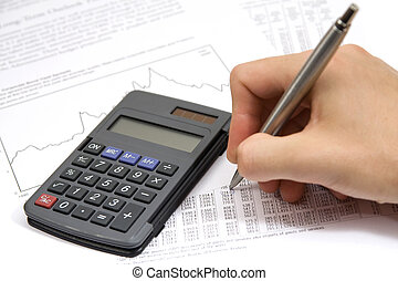 Economist in action - economic sheet, graph, calculator and...
