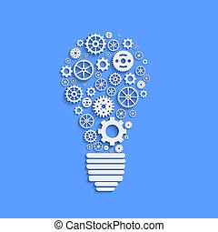 Light paper bulb with gears vector illustration -...