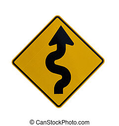 Road sign indicating curves ahead - A road traffic sign...