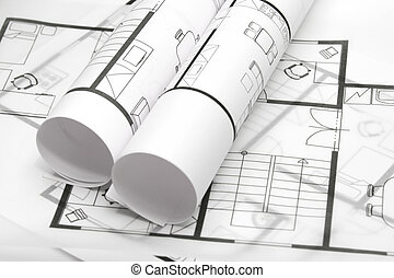 Blueprints of architecture interior on white background -...