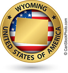 Wyoming state gold label with state map, vector illustration