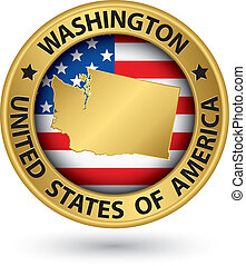 Washington state gold label with state map, vector...
