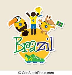 Brazil design over beige background, vector illustration