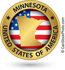 Minnesota state gold label with state map, vector...