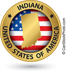 Indiana state gold label with state map, vector illustration