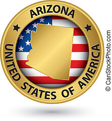 Arizona state gold label with state map, vector illustration
