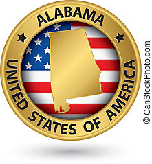 Alabama state gold label with state map, vector illustration