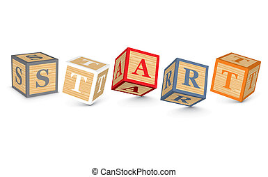 Word START written with blocks - START written with alphabet...