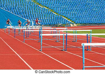 carrera, atletas, obstáculos