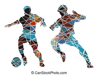Soccer color - Editable vector colorful mosaic illustration...