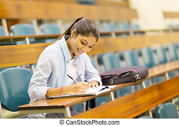 university student studying in lecture room - happy...