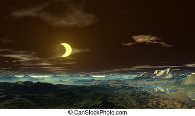 Golden moon over the mountains