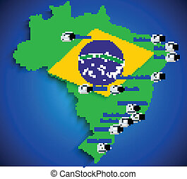 Brazil soccer stadium map