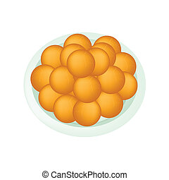 A Dish of Deep Fried Sweet Potato Balls - Food and Snack, An...