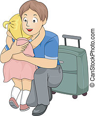 Goodbye Hug - Illustration of a Little Girl Giving Her...
