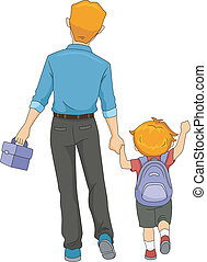 Father and Son Walking to School - Illustration of a Father...