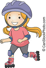 Rollerblade Girl - Illustration of a Little Girl Roller...