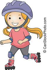 Rollerblade Girl - Illustration of a Little Girl Roller...