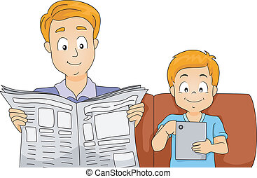 Father and Son Reading the News - Illustration of a Father...