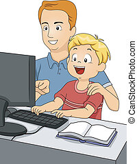 Father and Son Using a Computer