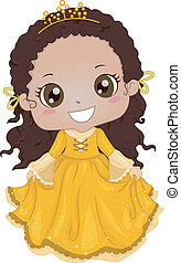 Princess Costume - Illustration of a Cute Africanb-American...