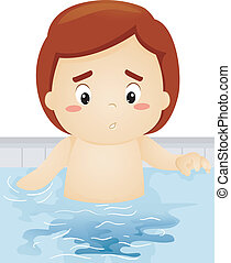 Boy Peeing in the Pool - Illustration of a Boy Accidentally...